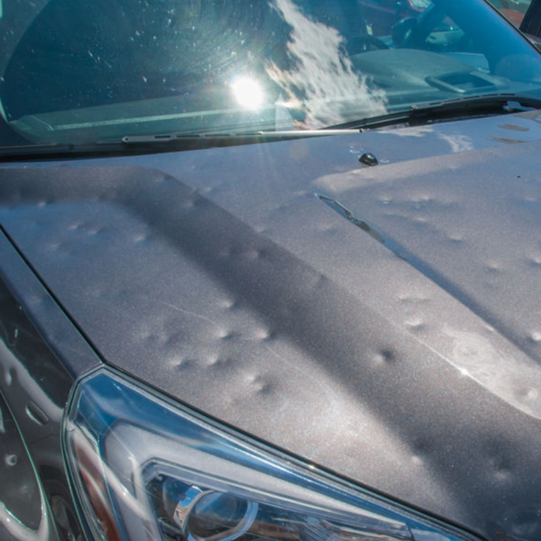 car with hail damage